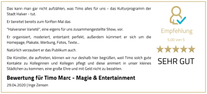 Bewertung Halveraner Varieté - Timo Marc Events